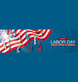 happy labor day banner with usa flag vector image vector image