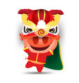 happy pig cartoon and lion dance chinese new year vector image vector image