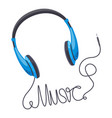 headphones music concept wired earbud music vector image vector image