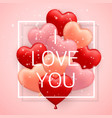 i love you happy valentines day red pink vector image