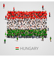 large group of people in the shape of hungary flag vector image vector image