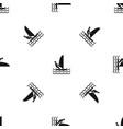 man on windsurf pattern seamless black vector image vector image