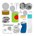 metal trash icons collection vector image vector image