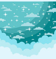 night sky with shiny stars and clouds vector image vector image