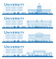 outline set of university campus study banners vector image vector image