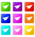paper airplane set 9 vector image vector image