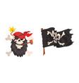 pirate skull and flag set buccaneer symbols vector image