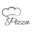 pizza chef hat lettering text design element vector image