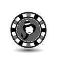 poker chip Christmas new year Girl Santa Claus in vector image vector image