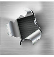 ragged hole torn in ripped steel on metal vector image vector image