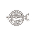 salmon fishing camp vintage with monolinear logo vector image vector image