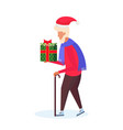 senior man with stick carrying gift box happy new vector image