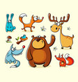 set isolated funny forest animals vector image