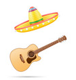 sombrero national mexican headdress and guitar vector image vector image