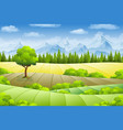 summer landscape with fields trees and mountains vector image vector image