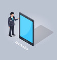technics businessman and tablet vector image vector image