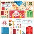 Tools for Handmade Seamstress Hobby Concept vector image