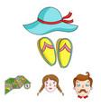 travel vacation camping map family holiday set vector image vector image