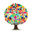 tree made of abstract color shapes concept vector image vector image