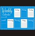 Weekly calendar report vector image