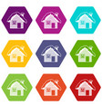 wooden house covered with snow icon set color vector image vector image