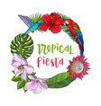 tropical palm leaves birds flowers round frame vector image