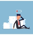 Tired businessman or manager sitting near the pile vector image