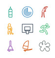 9 action icons vector image vector image