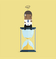 african businessman sitting on hourglass vector image