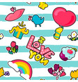 and cartoon romantic love seamless pattern vector image