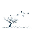autumn tree with birds vector image vector image
