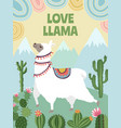 background picture llama mountains and vector image