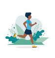 black man running in park in vector image