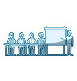 blue color silhouette shading with men group vector image vector image