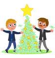 business people with money christmas tree vector image vector image