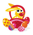 cartoon easter bunny in basket vector image vector image