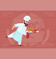 chef cook holding tray with lobster smiling vector image vector image