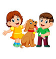 children with their pet dog vector image vector image