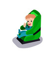 cute baby sitting on a green car seat wearing seat vector image