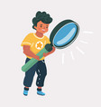 cute boy holding looking through magnifying glass vector image