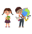 cute kids couple with school supplies school boy vector image vector image
