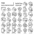 data protection line icon set computer safety vector image
