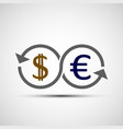 dollar and euro currency sign vector image vector image
