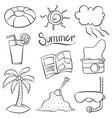 doodle of summer object art vector image vector image