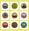 flat icons set of cracked earth and well concept vector image vector image