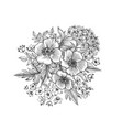 floral background flowers and leaves engraving vector image vector image