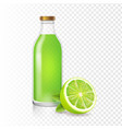 fresh lime juice in bottle with lime slice vector image vector image