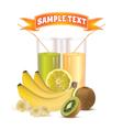glasses with juice lemon bananas and kiwi vector image