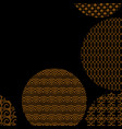 gold circles with different patterns on black vector image