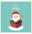 greeting of santa in a chimney vector image